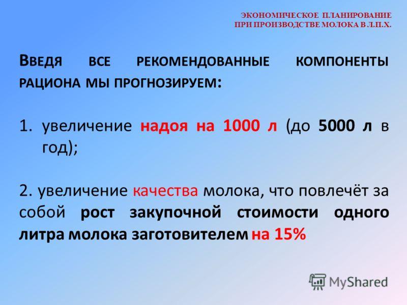 ЭКОНОМИЧЕСКОЕ ПЛАНИРОВАНИЕ ПРИ ПРОИЗВОДСТВЕ МОЛОКА В Л.П.Х. В ВЕДЯ ВСЕ РЕКОМЕНДОВАННЫЕ КОМПОНЕНТЫ РАЦИОНА МЫ ПРОГНОЗИРУЕМ : 1.увеличение надоя на 1000 л (до 5000 л в год); 2. увеличение качества молока, что повлечёт за собой рост закупочной стоимости