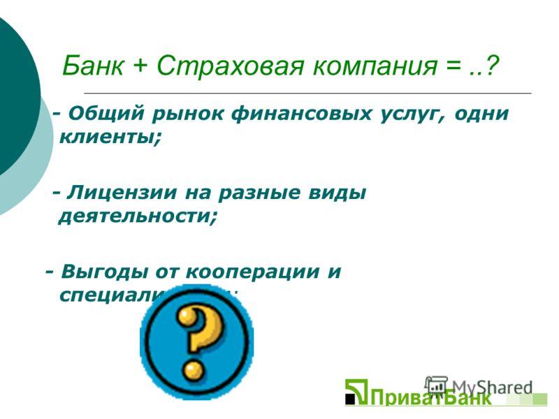 Банк + Страховая компания =..? - Общий рынок финансовых услуг, одни клиенты; - Лицензии на разные виды деятельности; - Выгоды от кооперации и специализации;