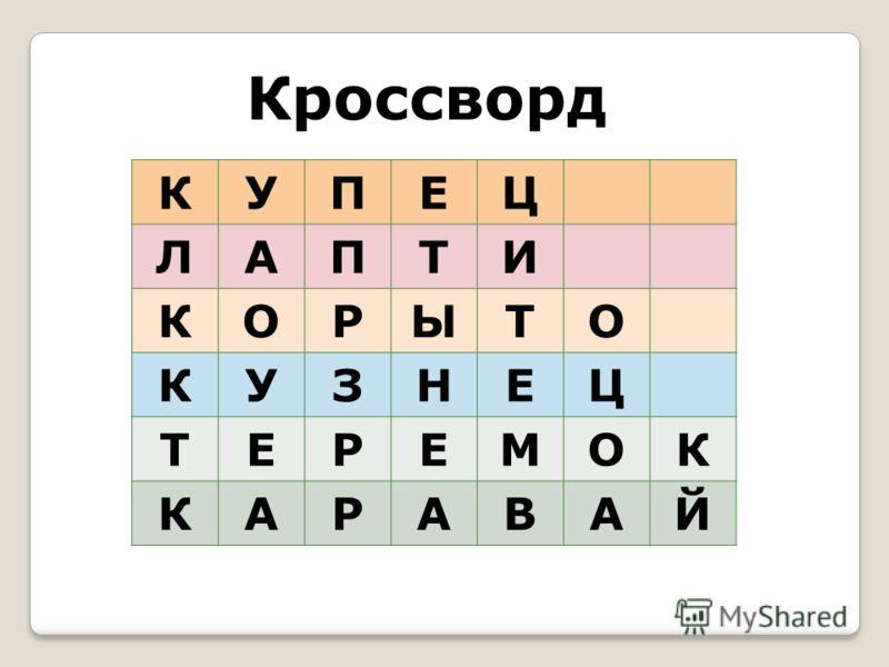 КУПЕЦ ЛАПТИ КОРЫТО КУЗНЕЦ ТЕРЕМОК КАРАВАЙ Кроссворд