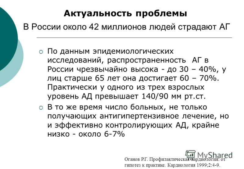 В России около 42 миллионов людей страдают АГ По данным эпидемиологических исследований, распространенность АГ в России чрезвычайно высока - до 30 – 40%, у лиц старше 65 лет она достигает 60 – 70%. Практически у одного из трех взрослых уровень АД пре