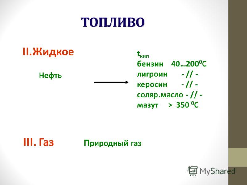 ТОПЛИВО II.Жидкое Нефть t кип бензин 40…200 0 С лигроин - // - керосин - // - соляр.масло - // - мазут > 350 0 С III. Газ П риродный газ