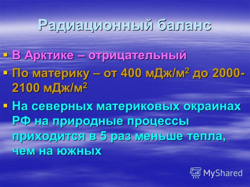 Радиационный баланс В Арктике – отрицательный По материку – от 400 мДж/м2 до 2000- 2100 мДж/м2 На северных материковых окраинах РФ на природные процессы приходится в 5 раз меньше тепла, чем на южных
