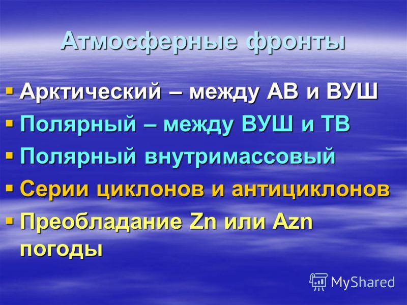 Атмосферные фронты Арктический – между АВ и ВУШ Полярный – между ВУШ и ТВ Полярный внутримассовый Серии циклонов и антициклонов Преобладание Zn или Azn погоды