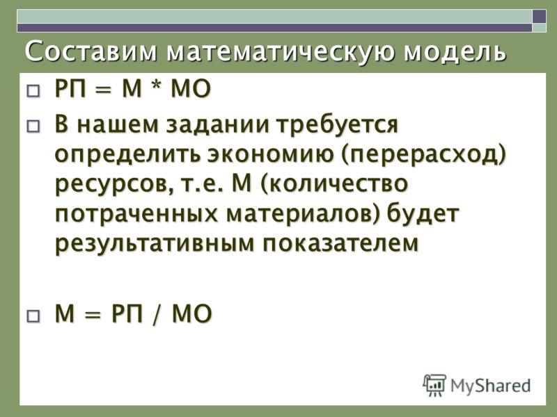 Составим математическую модель РП = М * МО РП = М * МО В нашем задании требуется определить экономию (перерасход) ресурсов, т.е. М (количество потраченных материалов) будет результативным показателем В нашем задании требуется определить экономию (пер