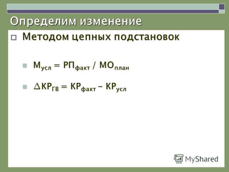 Определим изменение Методом цепных подстановок Методом цепных подстановок М усл = РП факт / МО план М усл = РП факт / МО план КР ГВ = КР факт - КР услКР ГВ = КР факт - КР усл