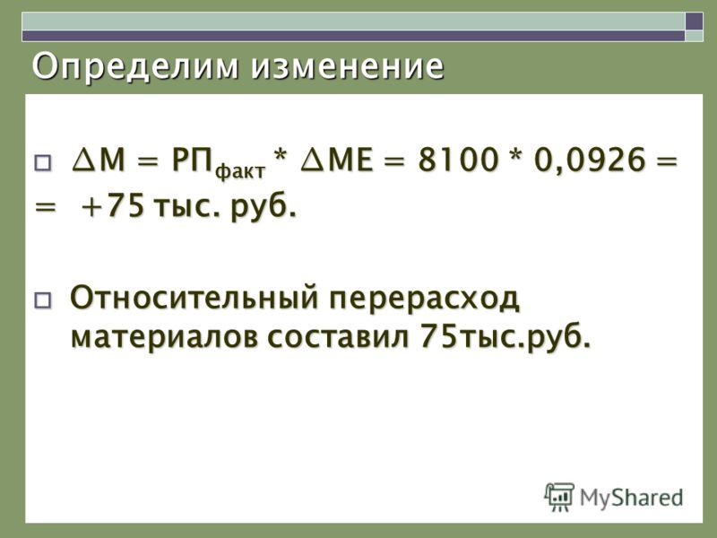 Определим изменение М = РП факт * МЕ = 8100 * 0,0926 =М = РП факт * МЕ = 8100 * 0,0926 = = +75 тыс. руб. Относительный перерасход материалов составил 75тыс.руб. Относительный перерасход материалов составил 75тыс.руб.