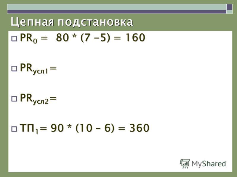 Цепная подстановка PR 0 = 80 * (7 -5) = 160 PR 0 = 80 * (7 -5) = 160 PR усл1 = PR усл1 = PR усл2 = PR усл2 = ТП 1 = 90 * (10 – 6) = 360 ТП 1 = 90 * (10 – 6) = 360