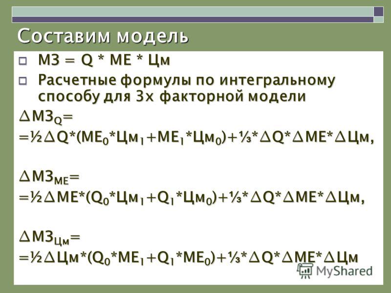 Составим модель МЗ = Q * MЕ * Цм МЗ = Q * MЕ * Цм Расчетные формулы по интегральному способу для 3х факторной модели Расчетные формулы по интегральному способу для 3х факторной модели МЗ Q = =½Q*(МЕ 0 *Цм 1 +МЕ 1 *Цм 0 )+ *Q*МЕ*Цм, МЗ МЕ = =½МЕ*(Q 0
