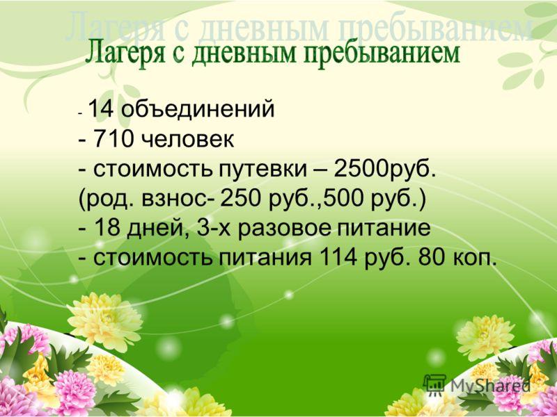 - 14 объединений - 710 человек - стоимость путевки – 2500руб. (род. взнос- 250 руб.,500 руб.) - 18 дней, 3-х разовое питание - стоимость питания 114 руб. 80 коп.