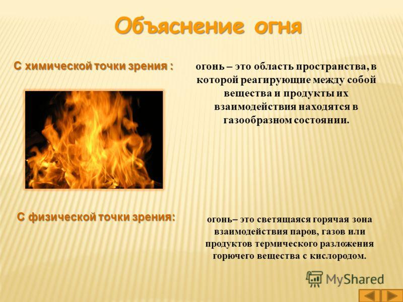 огонь– это светящаяся горячая зона взаимодействия паров, газов или продуктов термического разложения горючего вещества с кислородом. огонь – это область пространства, в которой реагирующие между собой вещества и продукты их взаимодействия находятся в