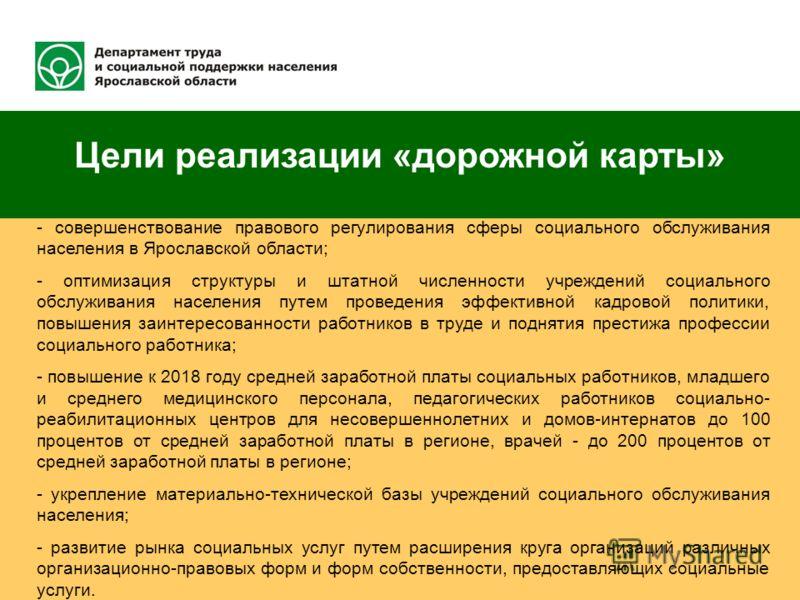 Цели реализации «дорожной карты» - совершенствование правового регулирования сферы социального обслуживания населения в Ярославской области; - оптимизация структуры и штатной численности учреждений социального обслуживания населения путем проведения