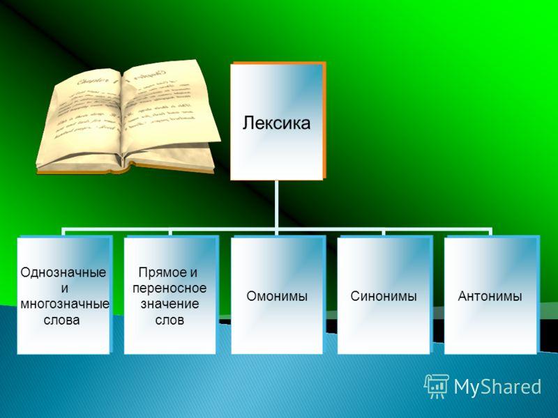 Лексика Однозначные и многозначные слова Прямое и переносное значение слов ОмонимыСинонимыАнтонимы