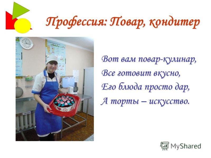Профессия: Повар, кондитер Вот вам повар-кулинар, Все готовит вкусно, Его блюда просто дар, А торты – искусство.