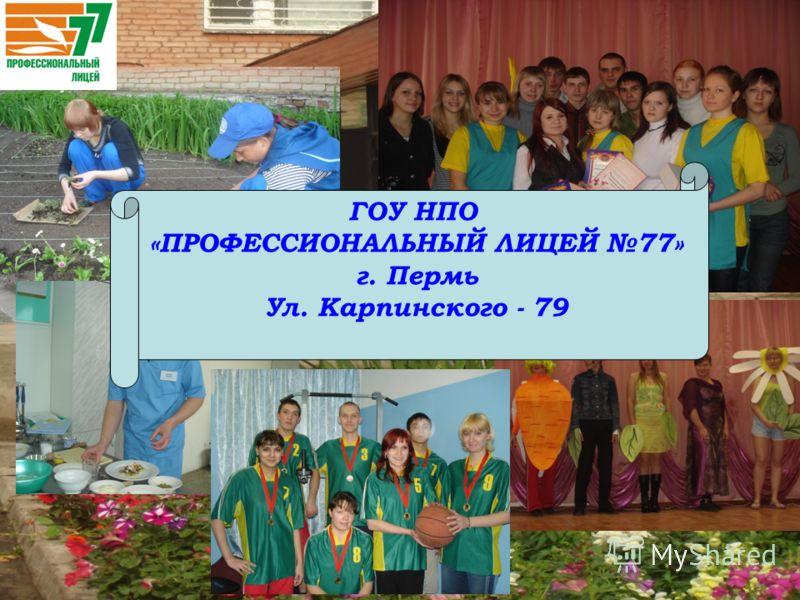 ГОУ НПО «ПРОФЕССИОНАЛЬНЫЙ ЛИЦЕЙ 77» г. Пермь Ул. Карпинского - 79