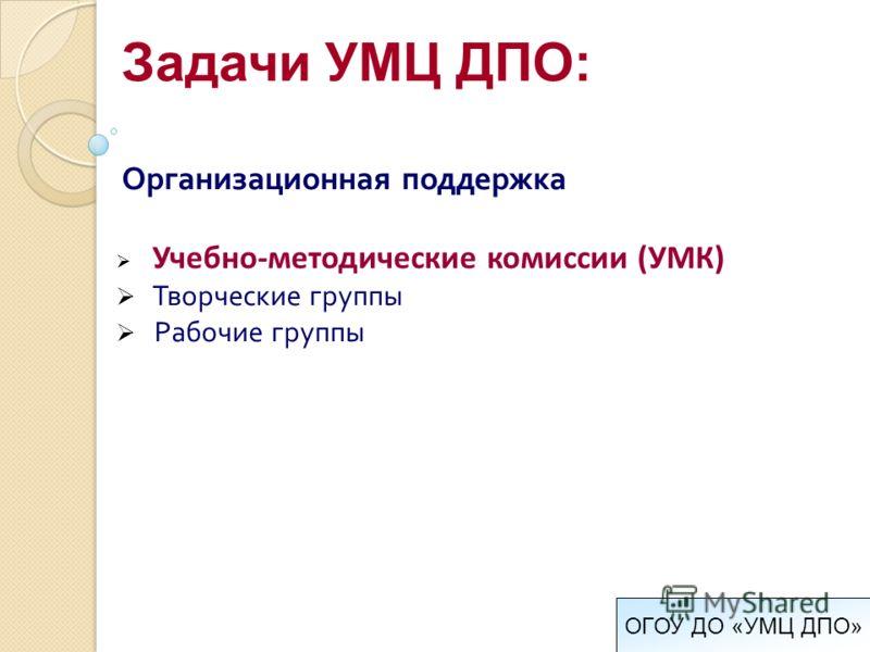Организационная поддержка Учебно-методические комиссии (УМК) Творческие группы Рабочие группы Задачи УМЦ ДПО: ОГОУ ДО «УМЦ ДПО»