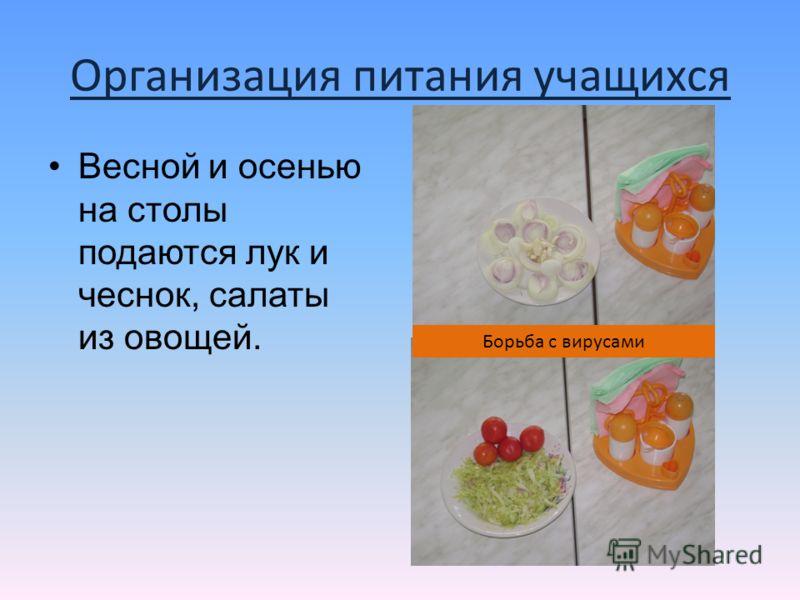 Организация питания учащихся Весной и осенью на столы подаются лук и чеснок, салаты из овощей. Борьба с вирусами