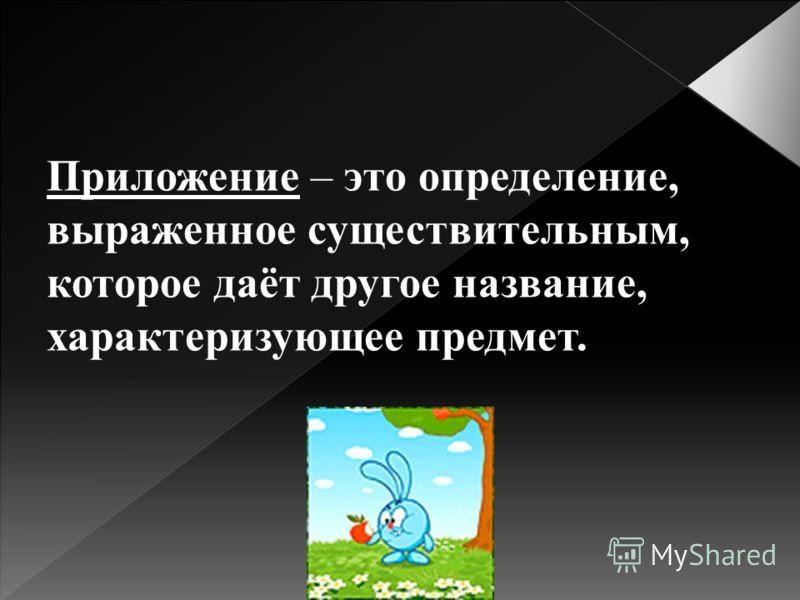 Приложение – это определение, выраженное существительным, которое даёт другое название, характеризующее предмет.