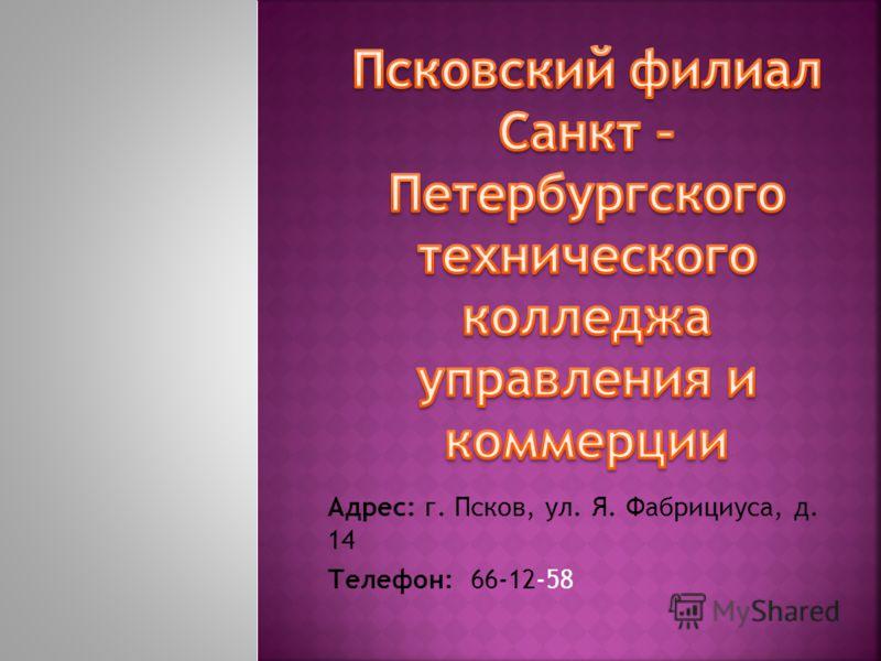 Адрес: г. Псков, ул. Я. Фабрициуса, д. 14 Телефон: 66-12-58