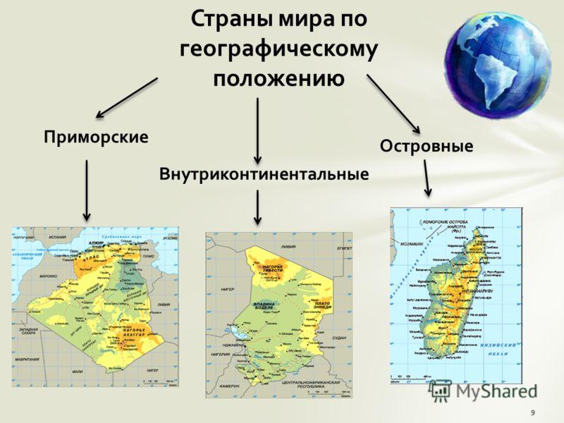 Страны мира по географическому положению Приморские Внутриконтинентальные Островные 9