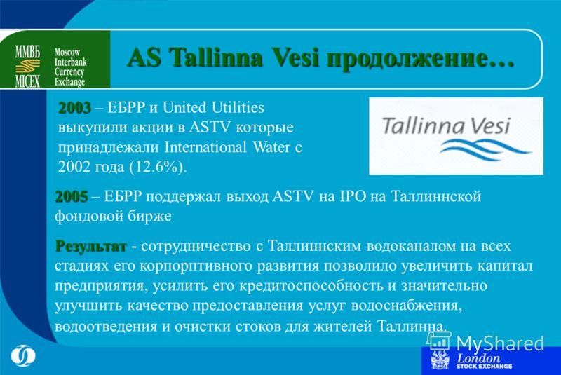 2005 2005 – ЕБРР поддержал выход ASTV на IPO на Таллиннской фондовой бирже Результат Результат - сотрудничество с Таллиннским водоканалом на всех стадиях его корпорптивного развития позволило увеличить капитал предприятия, усилить его кредитоспособно