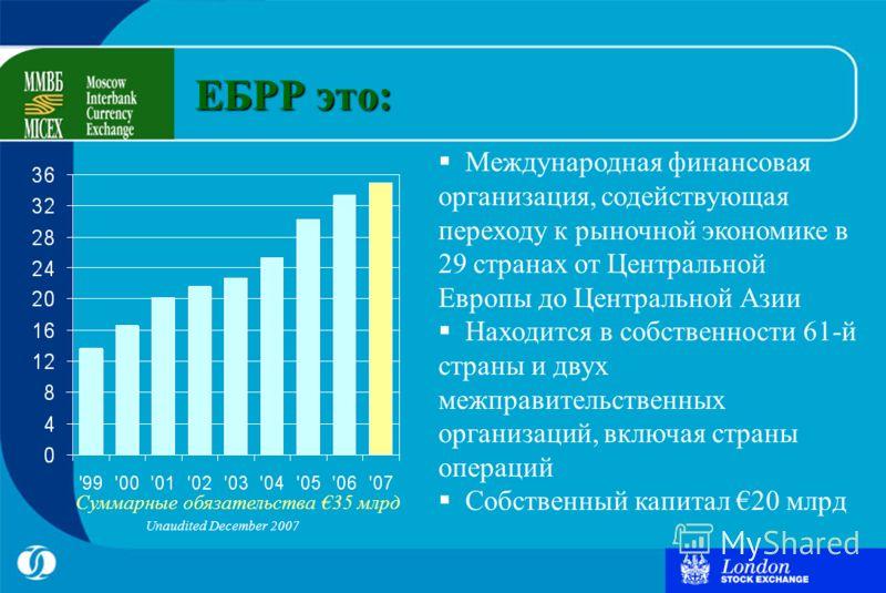 Суммарные обязательства 35 млрд Unaudited December 2007 ЕБРР это: Международная финансовая организация, содействующая переходу к рыночной экономике в 29 странах от Центральной Европы до Центральной Азии Находится в собственности 61-й страны и двух ме
