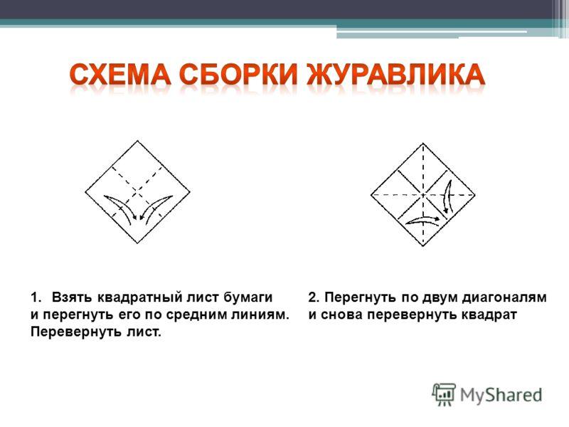 1.Взять квадратный лист бумаги и перегнуть его по средним линиям. Перевернуть лист. 2. Перегнуть по двум диагоналям и снова перевернуть квадрат
