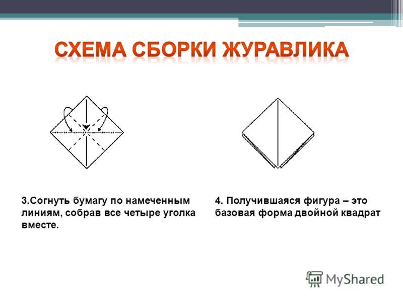 3.Согнуть бумагу по намеченным линиям, собрав все четыре уголка вместе. 4. Получившаяся фигура – это базовая форма двойной квадрат