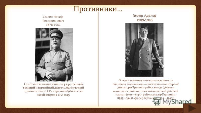 Сталин Иосиф Виссарионович 1878-1953 Советский политический, государственный, военный и партийный деятель, фактический руководитель СССР с середины 1920-х гг. до своей смерти в 1953 году. Гитлер Адольф 1989-1945 Основоположник и центральная фигура на
