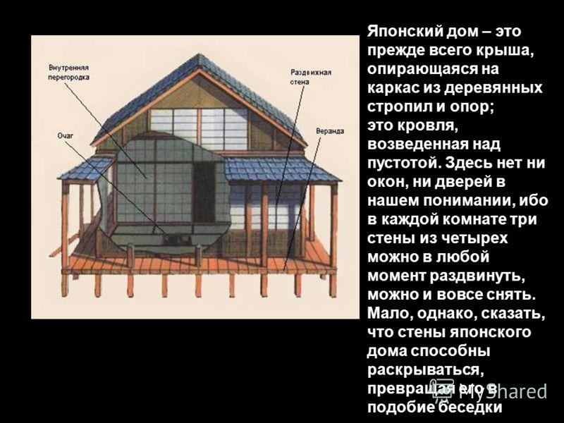 Японский дом – это прежде всего крыша, опирающаяся на каркас из деревянных стропил и опор; это кровля, возведенная над пустотой. Здесь нет ни окон, ни дверей в нашем понимании, ибо в каждой комнате три стены из четырех можно в любой момент раздвинуть
