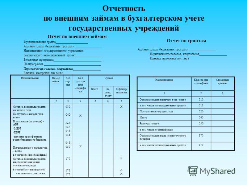 Отчетность по внешним займам в бухгалтерском учете государственных учреждений Отчет по внешним займам Функциональная группа_____________________ Администратор бюджетных программ__________________ Наименование государственного учреждения, реализующего