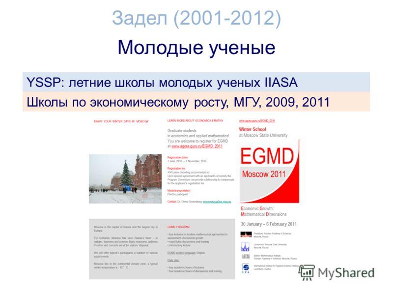 Молодые ученые Задел (2001-2012) YSSP: летние школы молодых ученых IIASA Школы по экономическому росту, МГУ, 2009, 2011