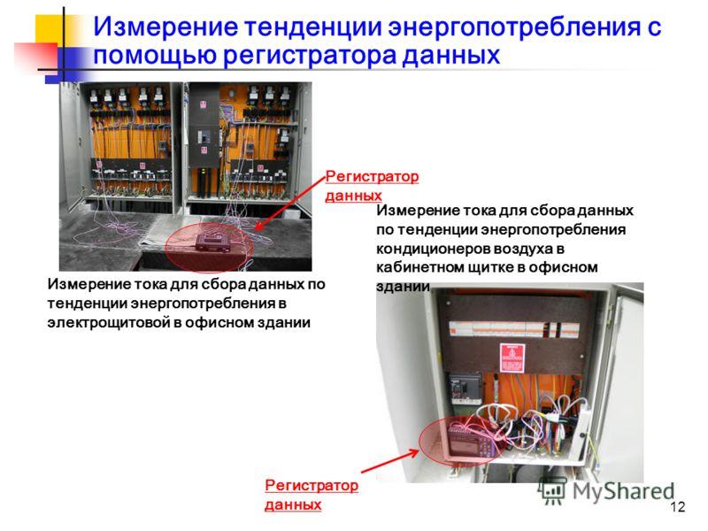 12 Измерение тенденции энергопотребления с помощью регистратора данных Измерение тока для сбора данных по тенденции энергопотребления в электрощитовой в офисном здании Измерение тока для сбора данных по тенденции энергопотребления кондиционеров возду