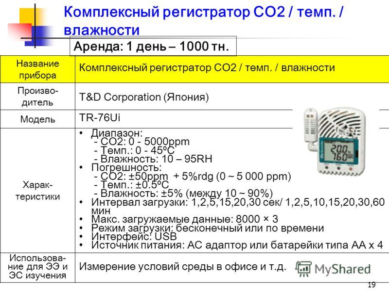 Комплексный регистратор CO2 / темп. / влажности Название прибора Комплексный регистратор CO2 / темп. / влажности Произво- дитель T&D Corporation (Япония) Модель TR-76Ui Харак- теристики Диапазон: - CO2: 0 - 5000ppm - Темп.: 0 - 45ºC - Влажность: 10 –