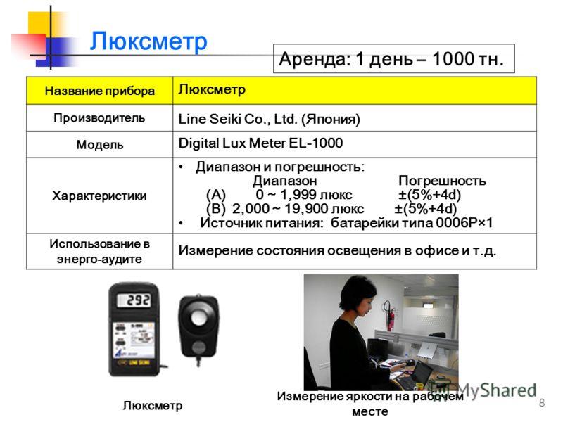 8 Название прибора Люксметр Производитель Line Seiki Co., Ltd. (Япония) Модель Digital Lux Meter EL-1000 Характеристики Диапазон и погрешность: Диапазон Погрешность (A) 0 ~ 1,999 люкс ±(5%+4d) (B) 2,000 ~ 19,900 люкс ±(5%+4d) Источник питания: батаре