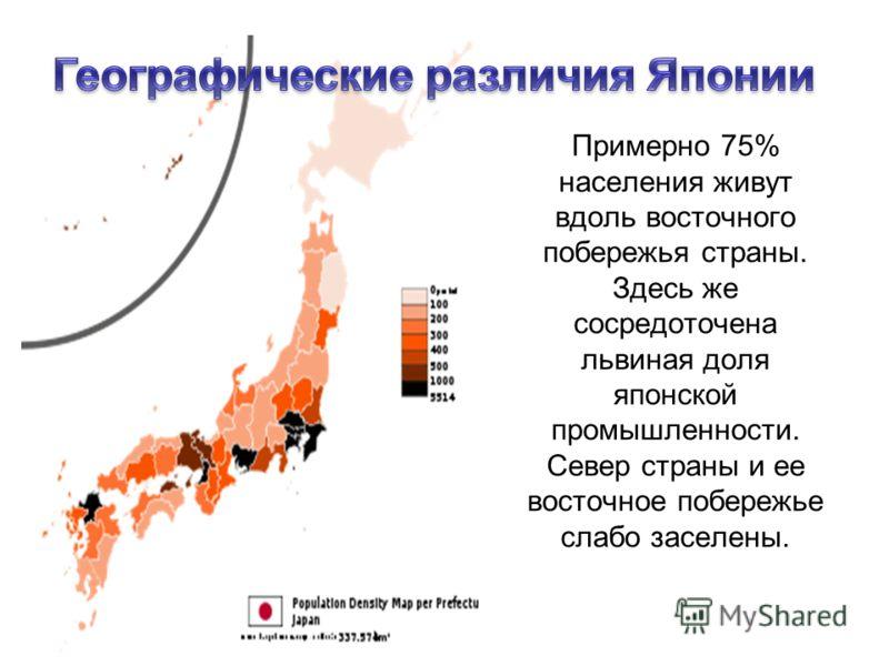 Примерно 75% населения живут вдоль восточного побережья страны. Здесь же сосредоточена львиная доля японской промышленности. Север страны и ее восточное побережье слабо заселены.