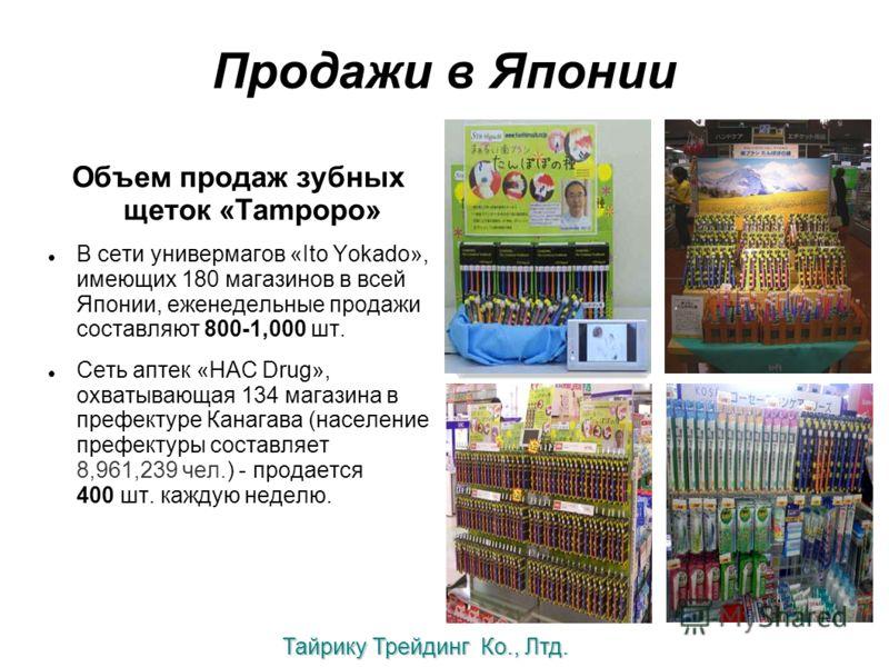 Продажи в Японии Объем продаж зубных щеток «Tampopo» В сети универмагов «Ito Yokado», имеющих 180 магазинов в всей Японии, еженедельные продажи составляют 800-1,000 шт. Сеть аптек «HAC Drug», охватывающая 134 магазина в префектуре Канагава (население