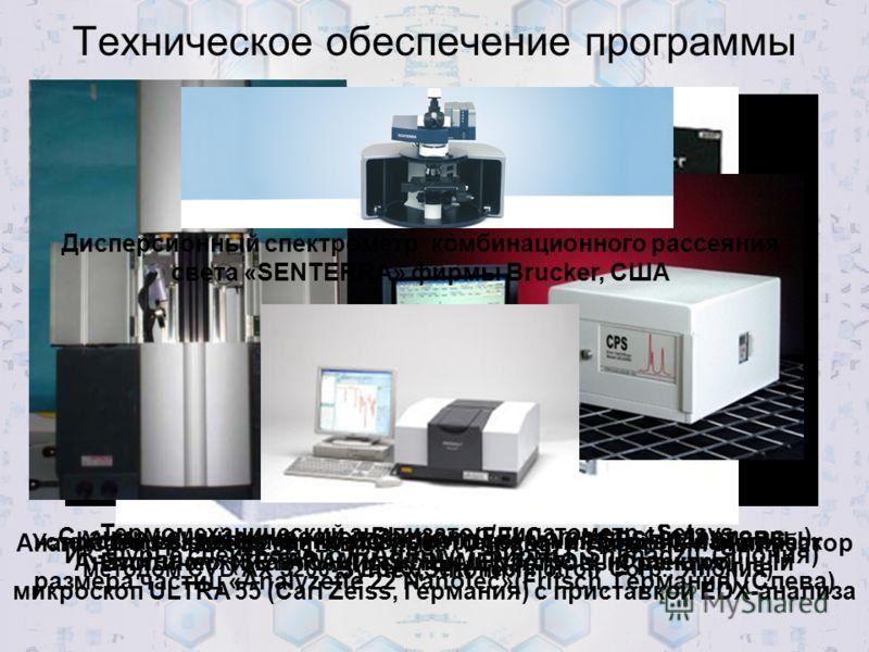 Техническое обеспечение программы Термомеханический анализатор/дилатометр «Setsys Evolution» (SETARAM INSTRUMENTATION, (Франция) Установка выращивания алмазных пленок и углеродных нанотрубок методом CVD AX 5200-S-ECR (Seki Technotron Corp., Япония) С