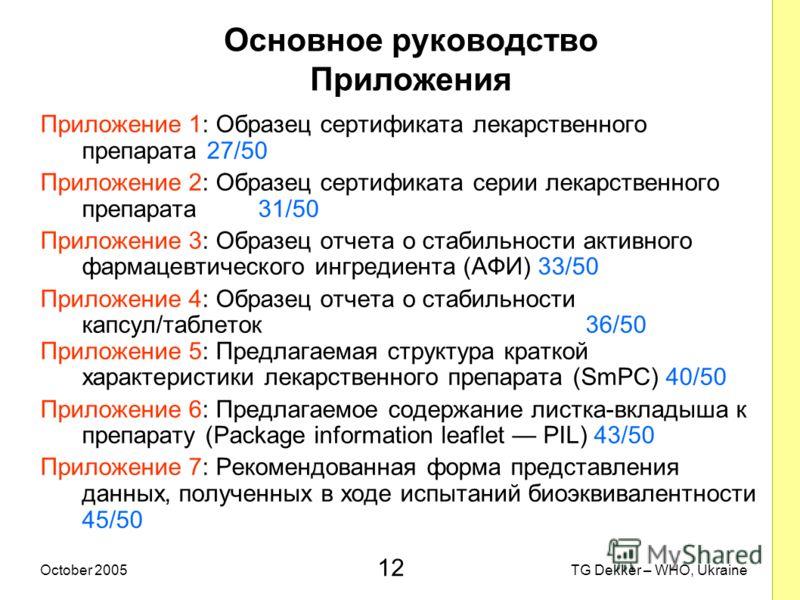 12 TG Dekker – WHO, UkraineOctober 2005 Основное руководство Приложения Приложение 1: Образец сертификата лекарственного препарата 27/50 Приложение 2: Образец сертификата серии лекарственного препарата 31/50 Приложение 3: Образец отчета о стабильност