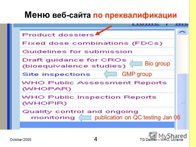 4 TG Dekker – WHO, UkraineOctober 2005 Меню веб-сайта по преквалификации Bio group GMP group publication on QC testing Jan 06