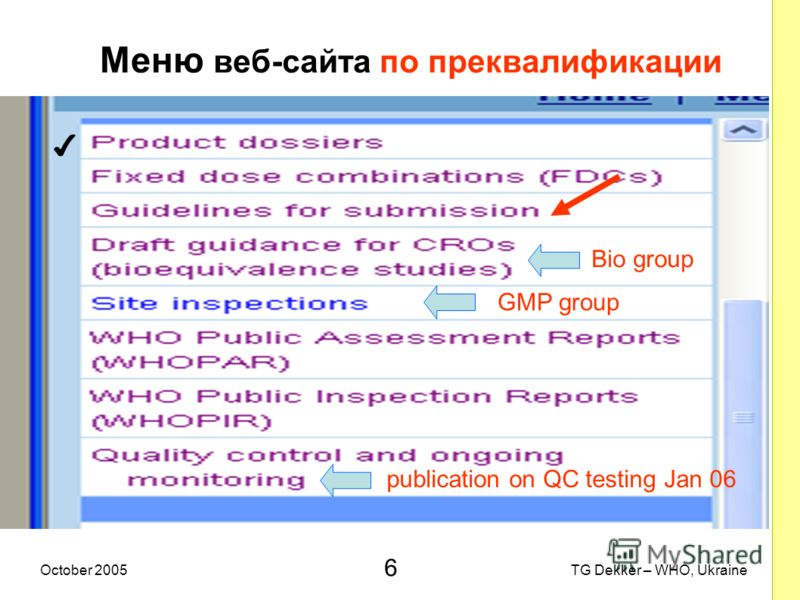 6 TG Dekker – WHO, UkraineOctober 2005 Меню веб-сайта по преквалификации Bio group GMP group publication on QC testing Jan 06