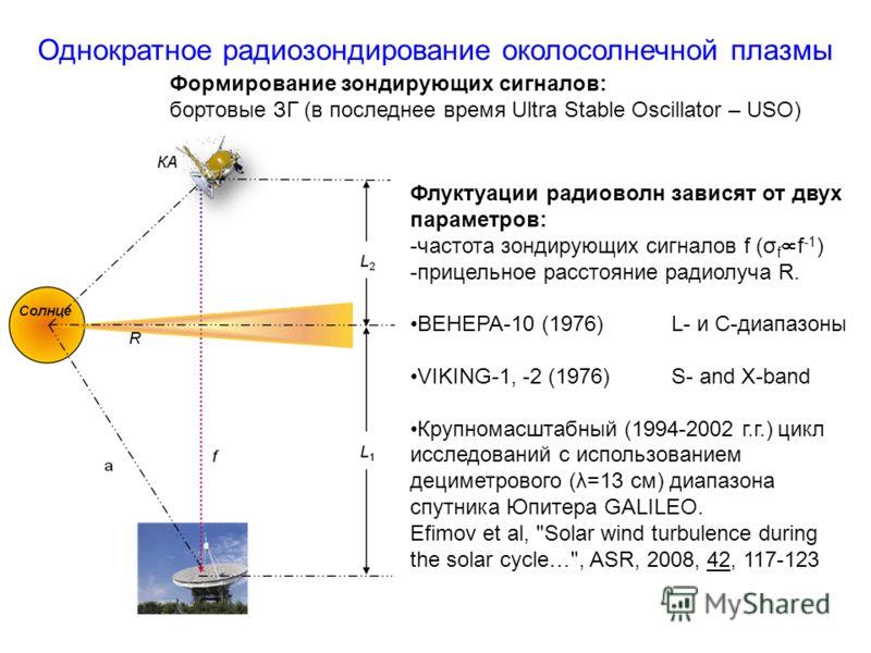 Однократное радиозондирование околосолнечной плазмы Формирование зондирующих сигналов: бортовые ЗГ (в последнее время Ultra Stable Oscillator – USO) Флуктуации радиоволн зависят от двух параметров: -частота зондирующих сигналов f (σ f f -1 ) -прицель