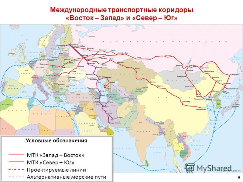 Международные транспортные коридоры «Восток – Запад» и «Север – Юг» 8 Условные обозначения МТК «Запад – Восток» МТК «Север – Юг» Проектируемые линии Альтернативные морские пути