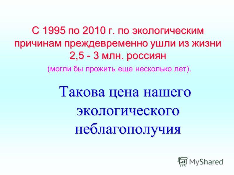 С 1995 по 2010 г. по экологическим причинам преждевременно ушли из жизни 2,5 - 3 млн. россиян С 1995 по 2010 г. по экологическим причинам преждевременно ушли из жизни 2,5 - 3 млн. россиян (могли бы прожить еще несколько лет). Такова цена нашего эколо