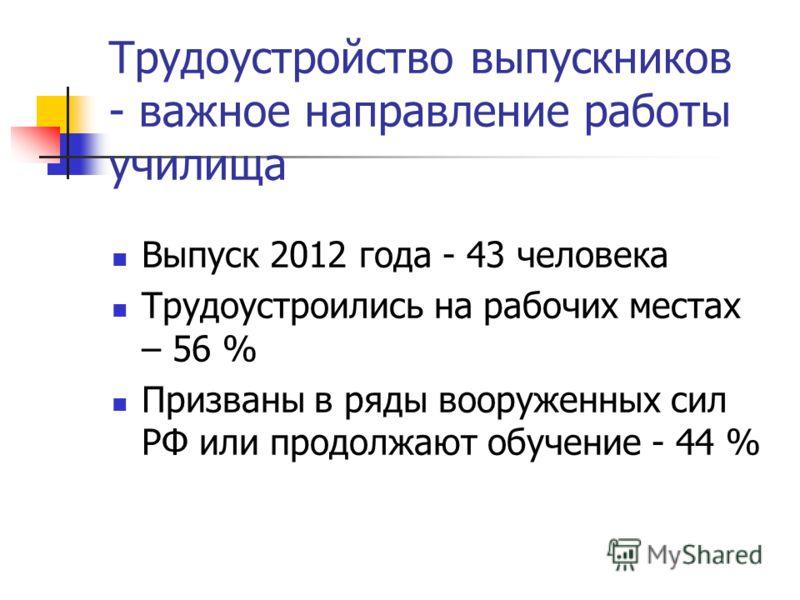 Трудоустройство выпускников - важное направление работы училища Выпуск 2012 года - 43 человека Трудоустроились на рабочих местах – 56 % Призваны в ряды вооруженных сил РФ или продолжают обучение - 44 %