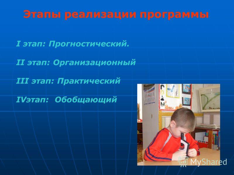 Этапы реализации программы I этап: Прогностический. II этап: Организационный III этап: Практический IVэтап: Обобщающий