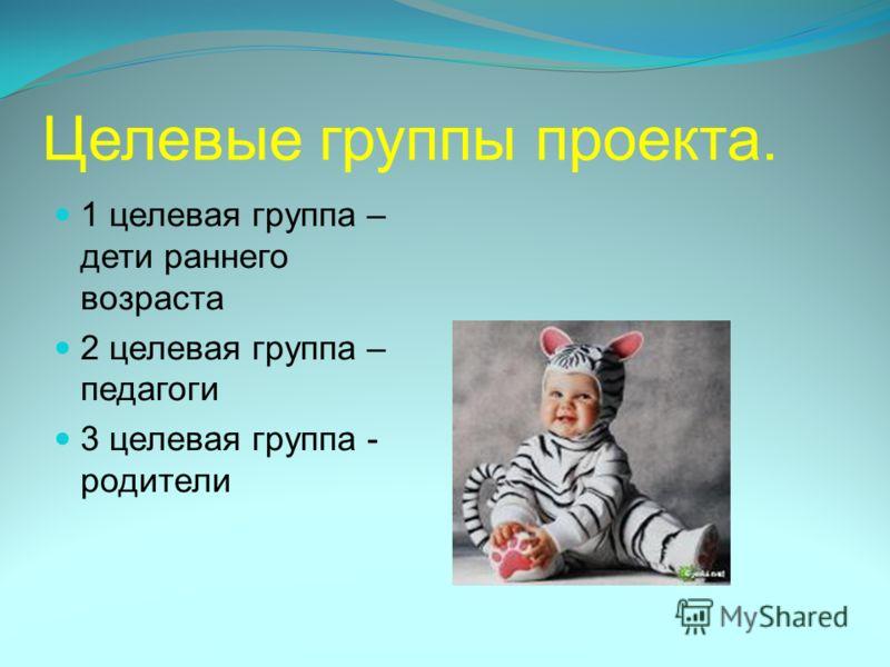 Целевые группы проекта. 1 целевая группа – дети раннего возраста 2 целевая группа – педагоги 3 целевая группа - родители