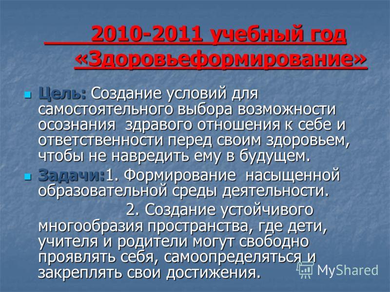2010-2011 учебный год «Здоровьеформирование» 2010-2011 учебный год «Здоровьеформирование» Цель: Создание условий для самостоятельного выбора возможности осознания здравого отношения к себе и ответственности перед своим здоровьем, чтобы не навредить е