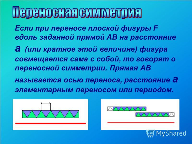 Если при переносе плоской фигуры F вдоль заданной прямой АВ на расстояние а (или кратное этой величине) фигура совмещается сама с собой, то говорят о переносной симметрии. Прямая АВ называется осью переноса, расстояние а элементарным переносом или пе