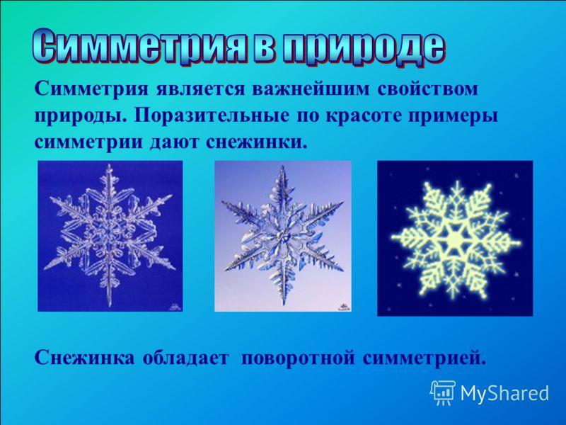 Симметрия является важнейшим свойством природы. Поразительные по красоте примеры симметрии дают снежинки. Снежинка обладает поворотной симметрией.