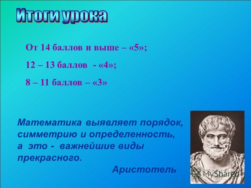 Математика выявляет порядок, симметрию и определенность, а это - важнейшие виды прекрасного. Аристотель От 14 баллов и выше – «5»; 12 – 13 баллов - «4»; 8 – 11 баллов – «3»